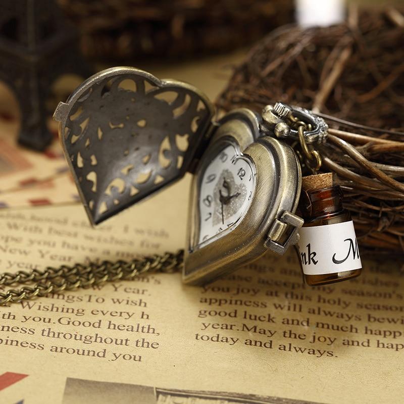 Parfüm Şişesi Cep Saati Hollow Kalp Çiçek Kabartmalı Bronz - Cep Saatleri - Fotoğraf 3