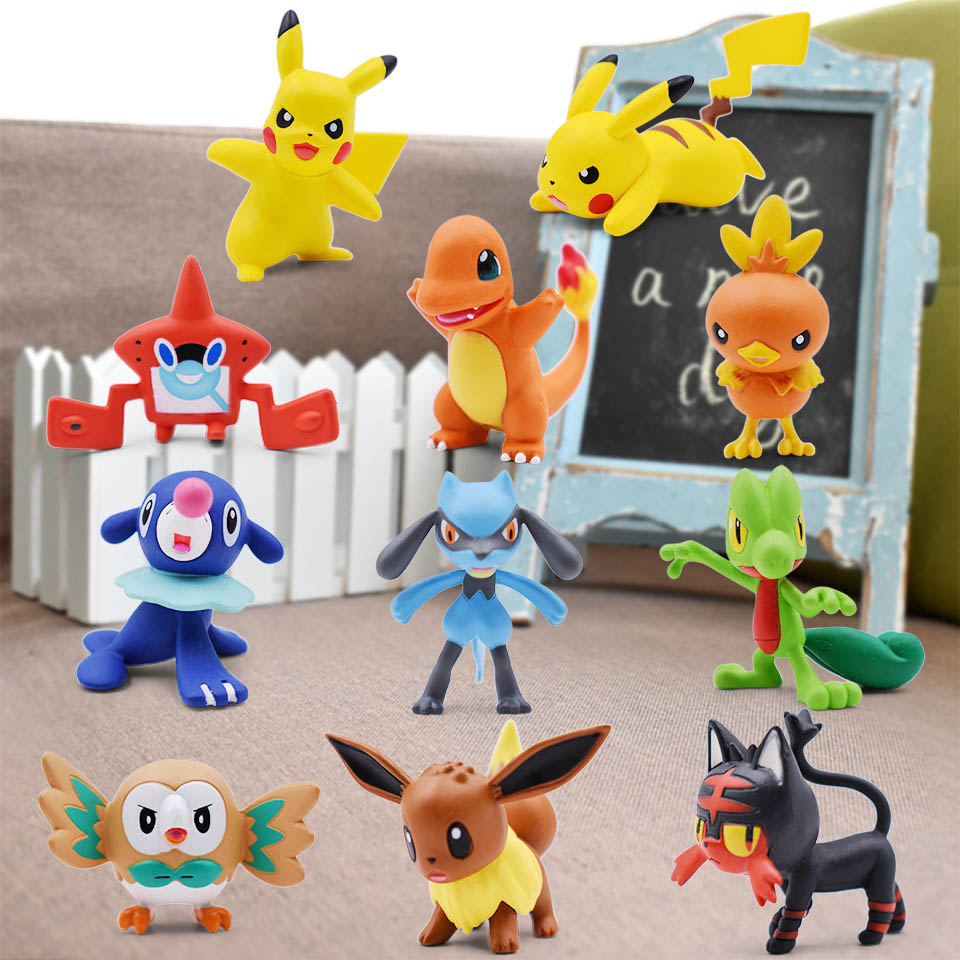 3-4cm 2'' Pikachu Squirtle Charmander Eevee Popplio Torchic Treecko Riolu Rotom Rowlet Litten Anime Action Figure Doll Toys