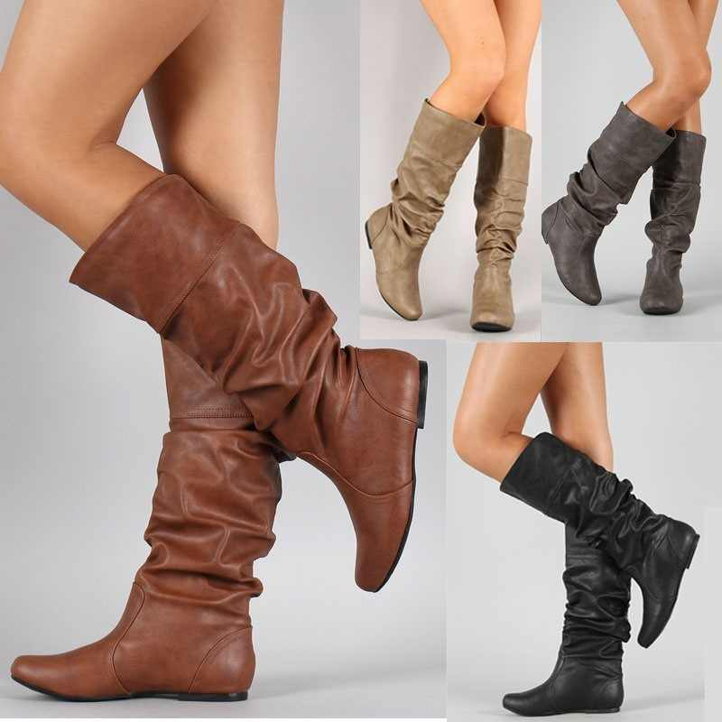 Lady Party Design Wedge Boots Shoes Plus Size 35-43 Women Spring Autumn Flat Long Pu Soft Leather Motorcycle Boot Shoes