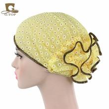 ผู้หญิง Beanie หมวกดอกไม้ Bonnet Chemo หมวกมุสลิมผ้าพันคอ Hijab อิสลาม
