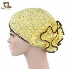 Delle donne del merletto Beanie Cappello Del fiore Del Cappello Cofano Chemio Cap Sciarpa Musulmana del Hijab Turbante Islamico