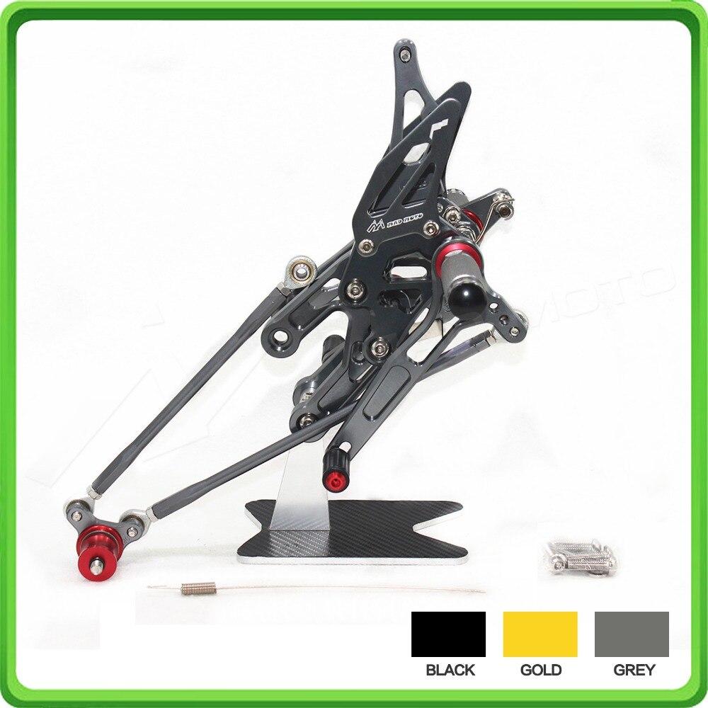 Adjustable Rearsets Rear set Foot Rest Pegs Pedal for Honda CBR1000RR 2004 2005 2006 2007 & CBR600RR 2003 2004 2005 2006 Gray