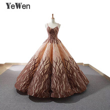 YEWEN Strap Beaded Pearls Evening Dresses 2018 Ball Gown