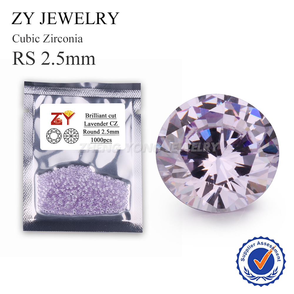 1000pcs 5A 2.5mm Round Brilliant Cut Lavender Cubic Zirconia Stone Synthetic CZ Gems For Jewelry