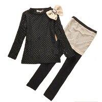 Autumn Kids Girl Clothes Set 2016 Polka Dot Bow T Shirt Skirt Pant 2pcs Girl Kids