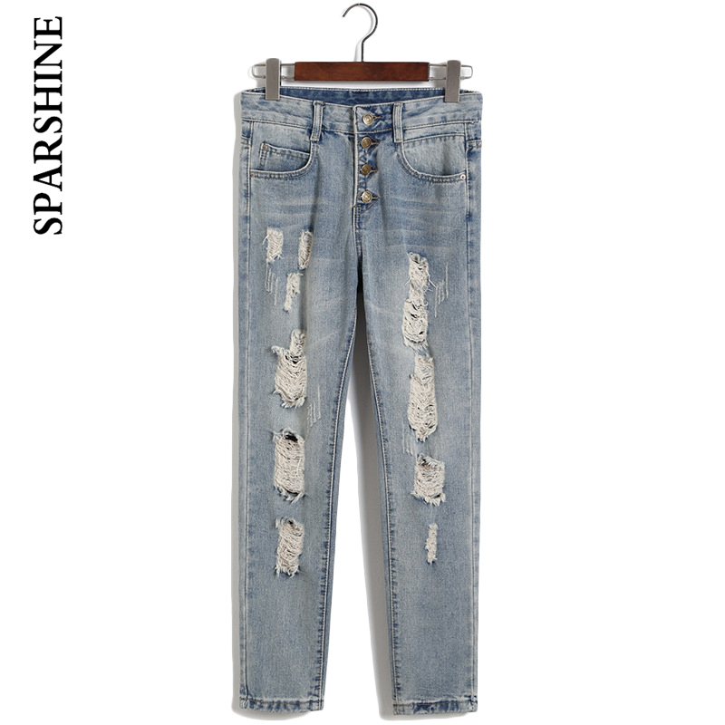 Women Hole Harem Pants Female Vintage Ripped Long length Jeans Trousers Korean Style