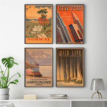 Vintage City Travel Poster Retro Kraft Paper Painting Bar Cafe Pub Living Room Home Decoration Wall