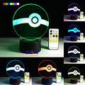 Pokemon Series The Elves Ball 7 Colors 3D LED Night Light Table Lamp Xmas Gift