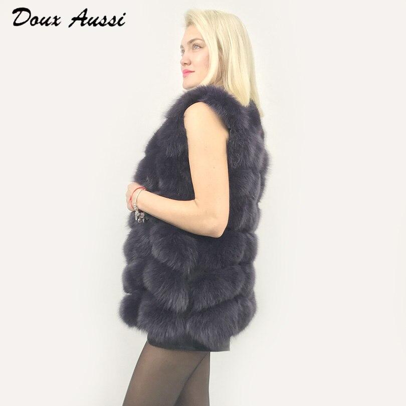 Noir Femelle Pele Outwear Gilet Aussi Doux De Femmes Véritable Réel Colete Épais Peau Fourrure Renard Veste Chaude Solide Automne nBxwFUqR