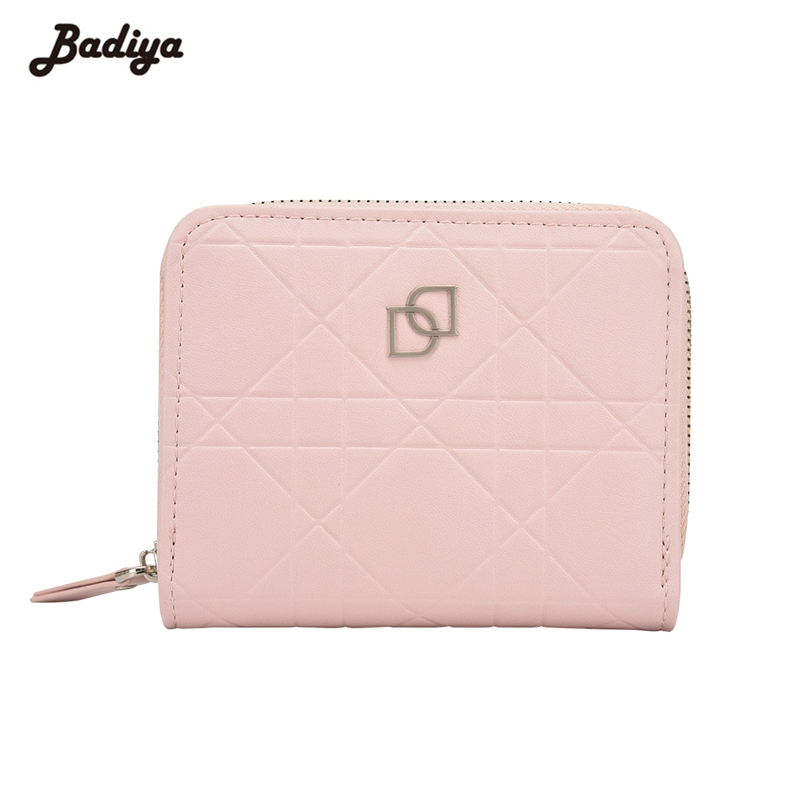 Badiya Fashion Women Short Wallet Hasp And Zipper Design PU Leather Solid Card Holder Wallet For Women Cute Female Mini Purse fashion hasp and solid color design wallet for women