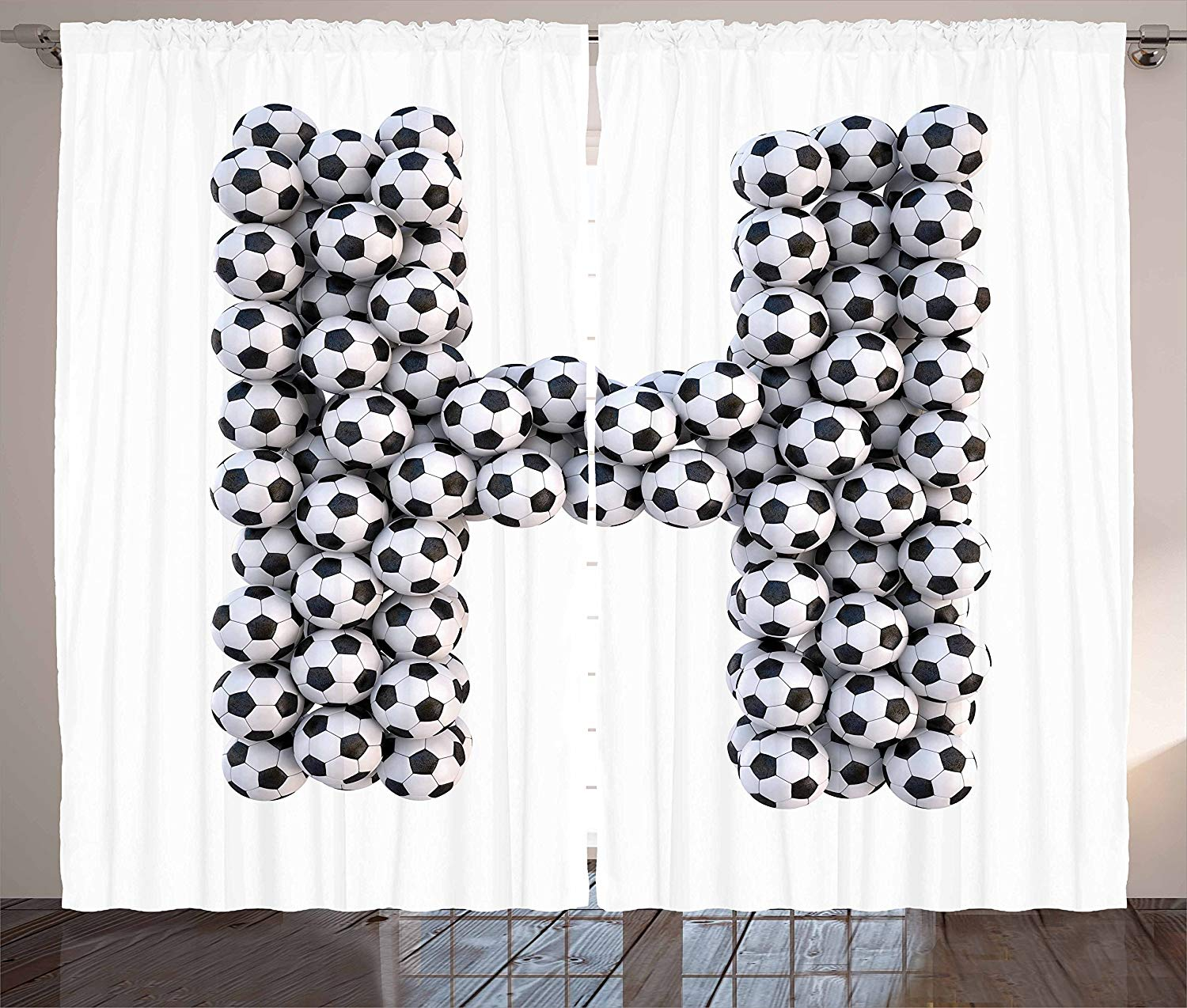 Letter H Curtains Soccer Balls Arrangement Game Day Theme Abstract Composition With Uppercase H Living Room Bedroom Window Drape