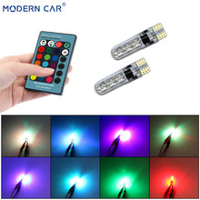 MODERN CAR 2pcs T10 W5W Led Lamp For Auto 194 501 5050 6SMD Car Interior RGB With Remote Control Multi color Festoon Lights Bulb(China)