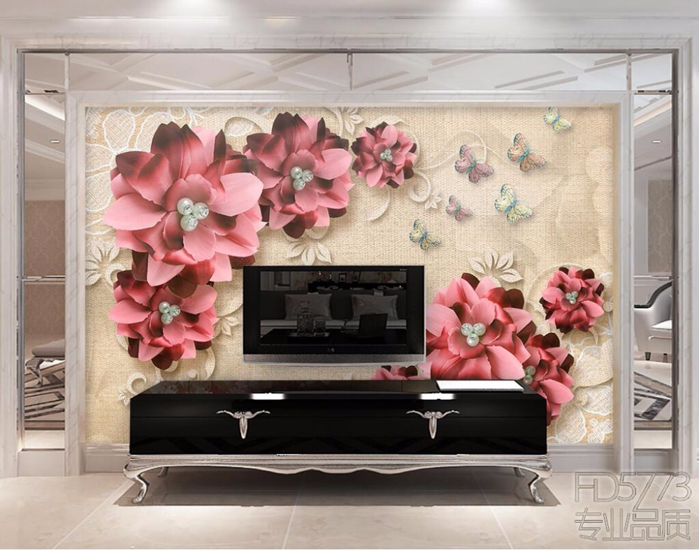 beibehang Custom photo wallpaper 3D fresco, retro jewelry flower living room TV wall papel de parede wall paper wallpaper