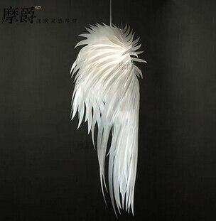 Modern Loft Designer Feather Chandelier White Art Angel Wings Bedroom Study Hanging Light Fixtures Free Shipping