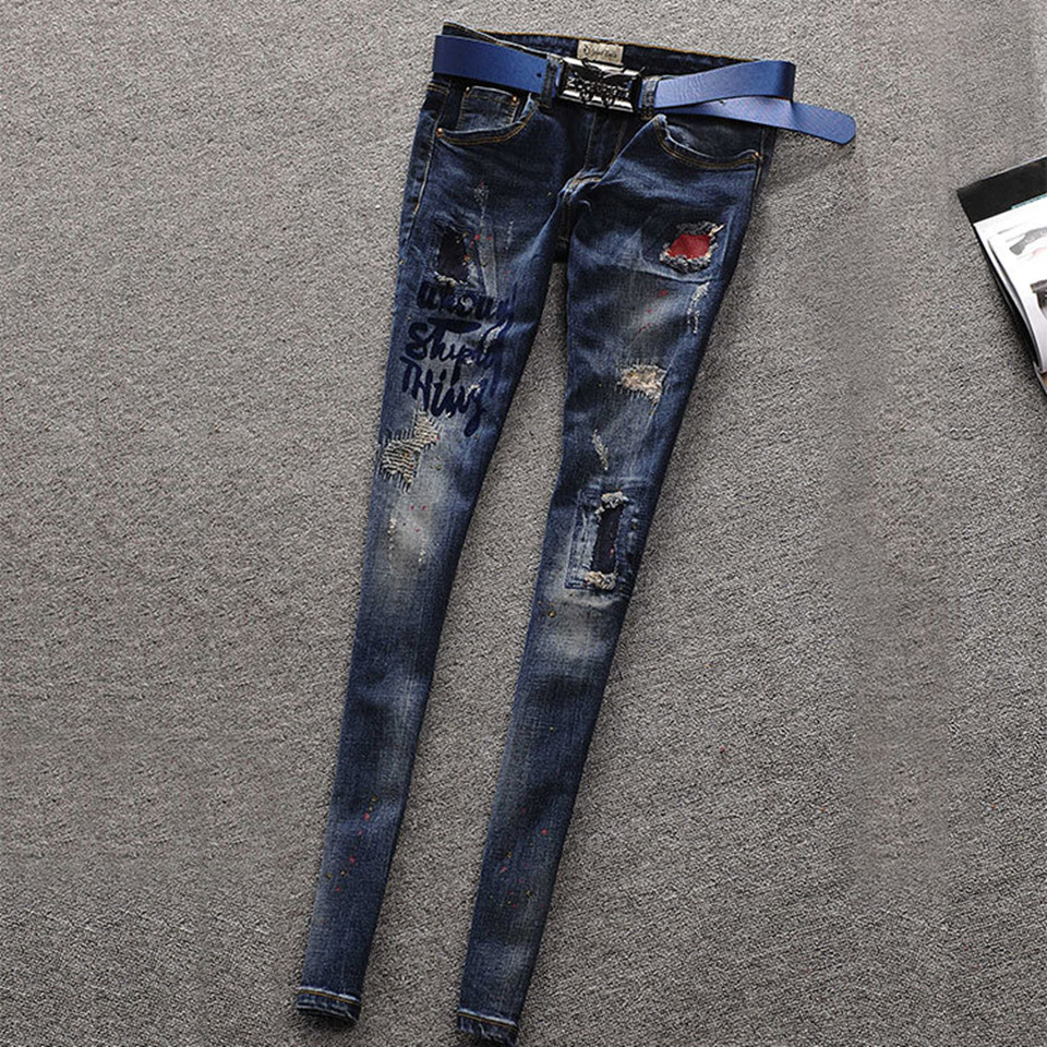 Ripped Jeans For Women Skinny Jeans Woman Dark Blue Painted Patchwork Embroidered Vintage Denim Pencil Pants