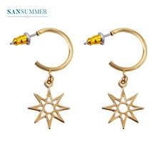 Sansummer 2019 New Hot Fashion Star Round Hollow Dangle Charm Girl Golden Bohemia Drop Earrings For Women Jewelry 736