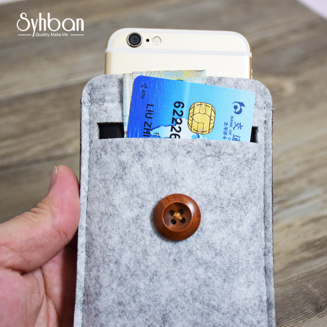 separation shoes 7ac25 bcb1a US $17.51 15% OFF|SYHBAN handmade Wool Felt Wallet Style For iphone 8 clear  case Custom Sizes For iPhone X 6 7 8Plus mobile phone bags Button-in Phone  ...