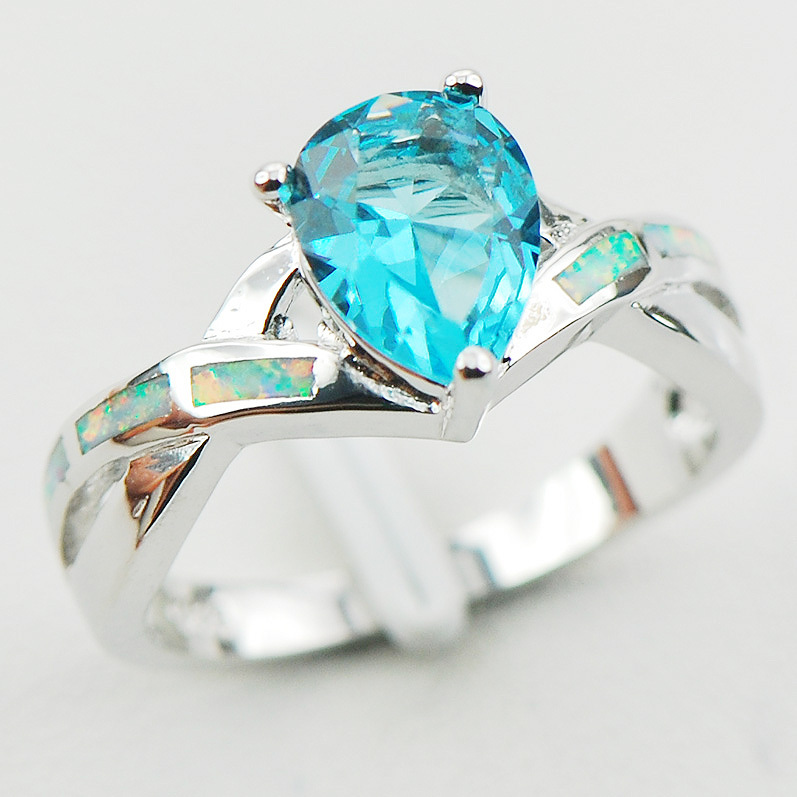 Simulated Aquamarine White Fire Opal 925 Sterling Silver Ring Size 6 7 8 9 10 R1185 Fashion