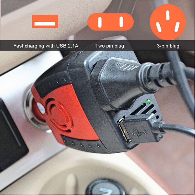 BRIDNA 150w Cigarette Lighter car charger converter dc 12v to ac 110v 60hz 220v 50hz car power inverter adapter with USB port