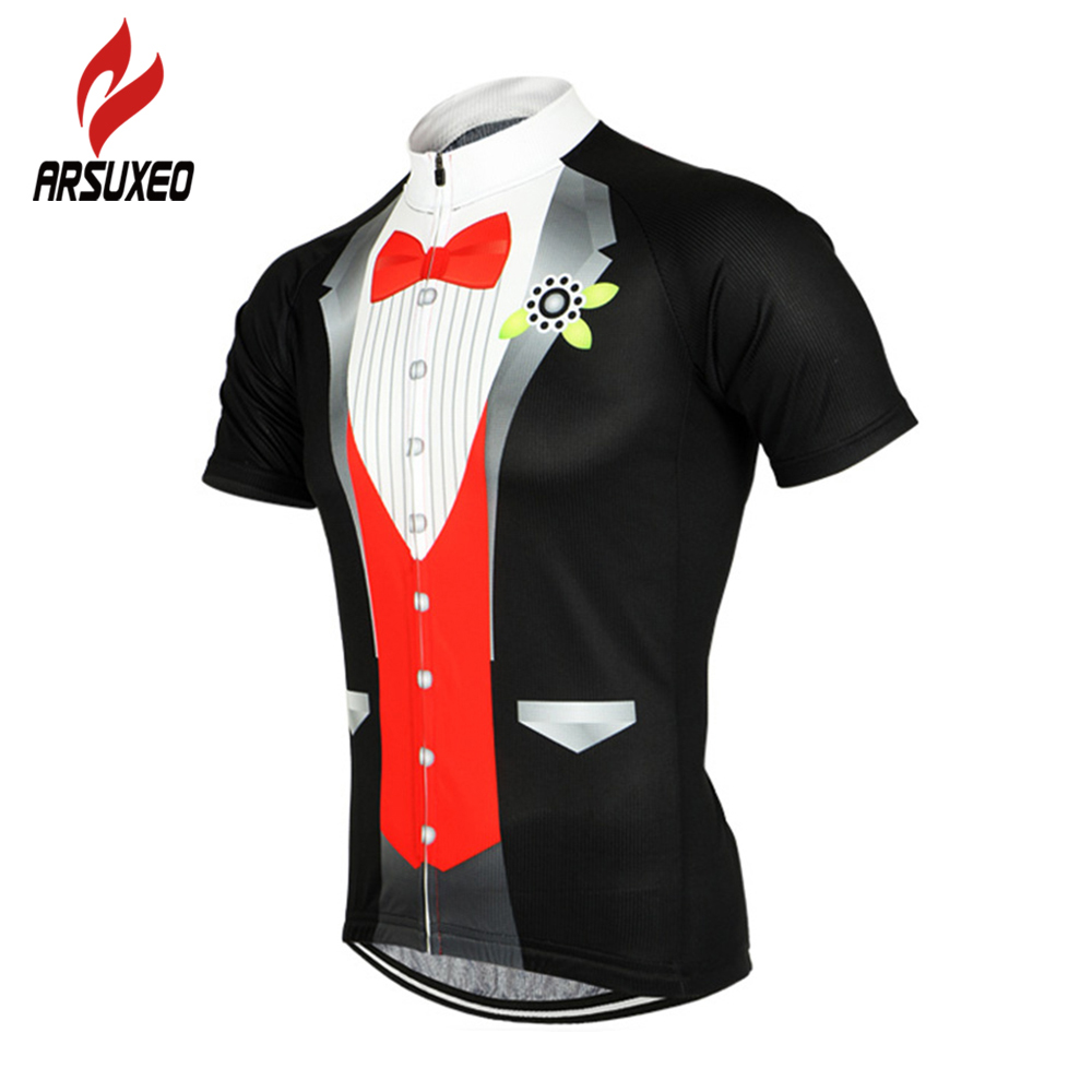 Prix pour ARSUXEO Smoking Style Hommes Vélo Maillot Respirant À Séchage Rapide Vélo Manches Courtes Chemises Tops VTT Route de Montagne Vélo Clothing