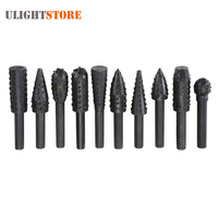 10pcs Tungsten Carbide Rotary Burr Drill Bit Set Wood Carving File Rasp Drill Bits 1 4in