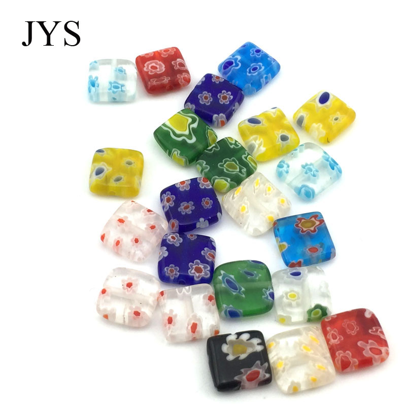 FREE SHIPPING 10MM 50 PCS / LOT MIXED COLOR MILLEFIORI GLASS DONUT BEADS GLASS BEAD DIY JEWELRY FINDING BRACELET NECKLACE!!(China)