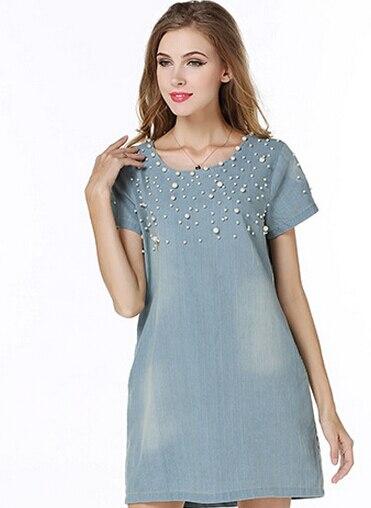 Aliexpress.com Comprar Vestidos verano mujer 2015 mujeres vestido de  mezclilla sueltos manga corta vestido de oficina Jeans casual vestido con  cuentas
