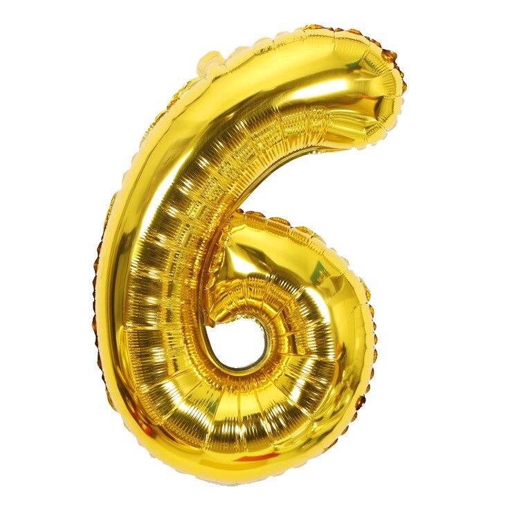 Золотой Серебряный 32 дюйма 0-9 большой гелиевый цифровой воздушный шар фольги Детский праздник день рождения вечеринка для детей мультфильм шляпа игрушки - Цвет: gold 6