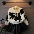 Girls Flowers Bat Sleeve Sweatshirt + Skirt  2 Piece Set Korean Girl Tops + Skirts Suit 3-7 Year