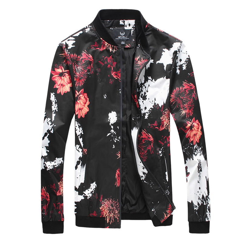 2017 new arrival spring and autumn high quality dress fashion casual printing men's jacket coat large size L-4XL
