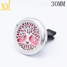Fashion 30mm 316L Stainless Steel Car Accessories Essential Oil Diffuser Locket Clip Aromatherapy Pendants 10 Free Pads