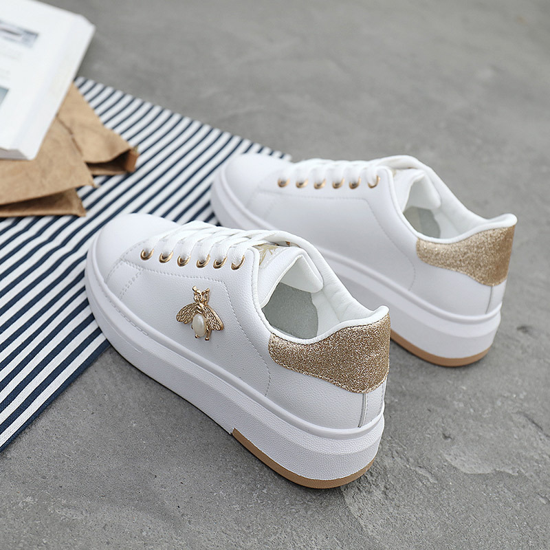 Image 2 - Casual Shoes Women Sneakers 2019 Fashion Rhinestone Platform White Sneakers For Women Breathable PU Leather Shoes Tennis Female-in Women's Flats from Shoes