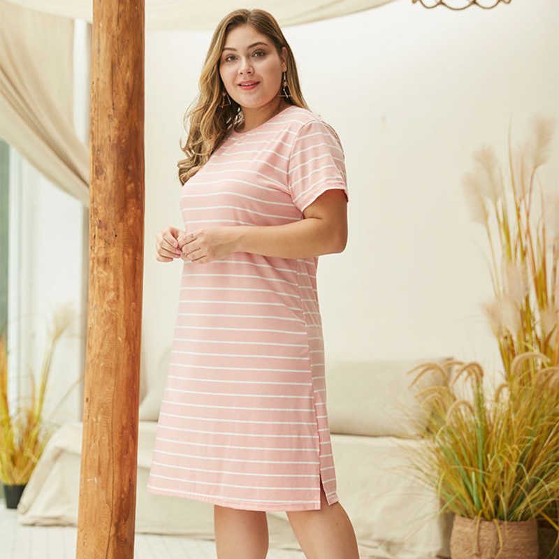 WHZHM Лето Плюс Размер 3XL 4XL розовое Полосатое Платье женское о-образный вырез с принтом свободное повседневное Хлопковое платье с коротким рукавом женское Jurk
