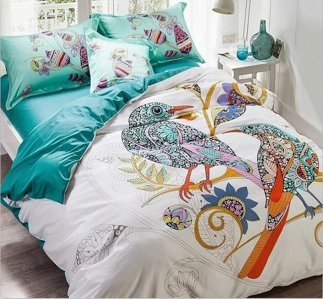 Bird Print Bedding Set 100 Egyptian Cotton Duvet Cover Sets Bed Sheet Bedspread King Queen