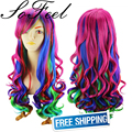 Sofeel colorful long curly hair wig ombre wig rainbow wig high temperature fiber  african american wigs free shipping