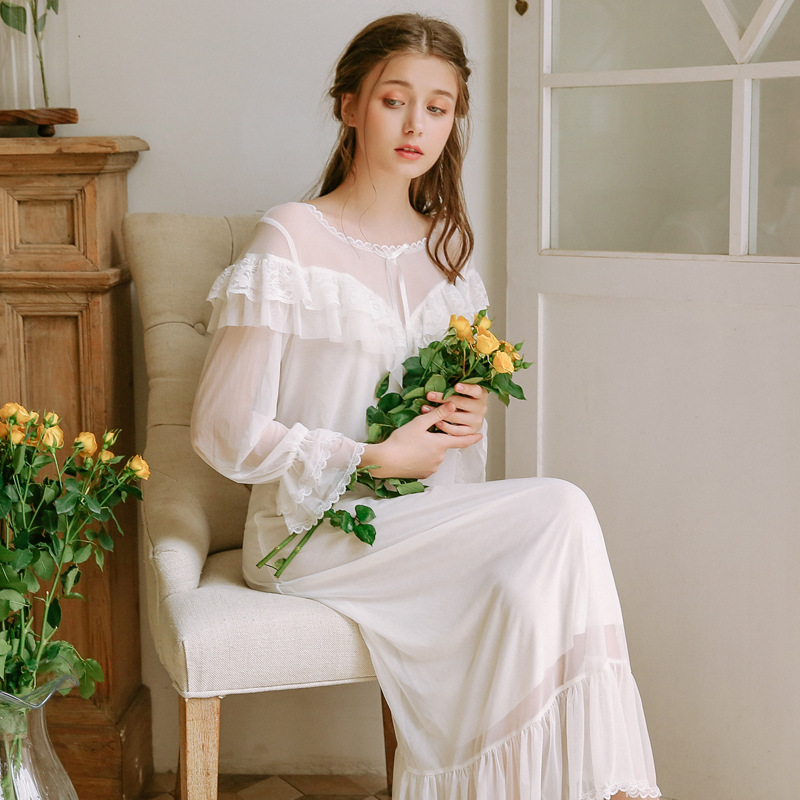 Nightgowns     Sleepshirts   2019 Summer Sleepwear Solid   Nightgown   Home Dress Lace Indoor Clothing Sexy   Sleepshirts   Long   Nightgowns