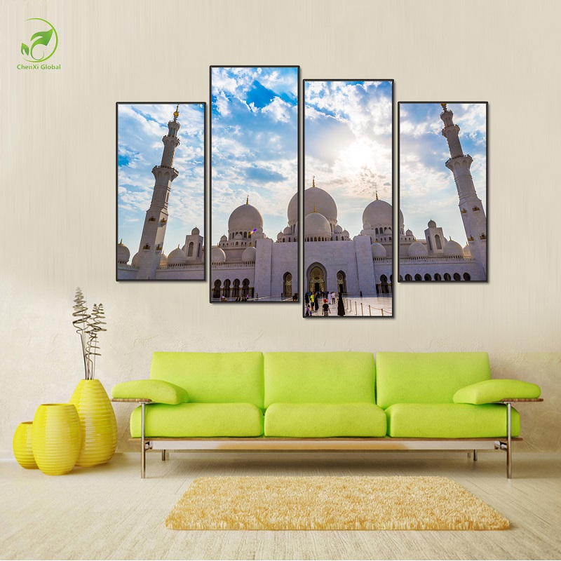 modular 4pcs ancient culture building canvas prints art poster famous taj mahal oil painting framed wall