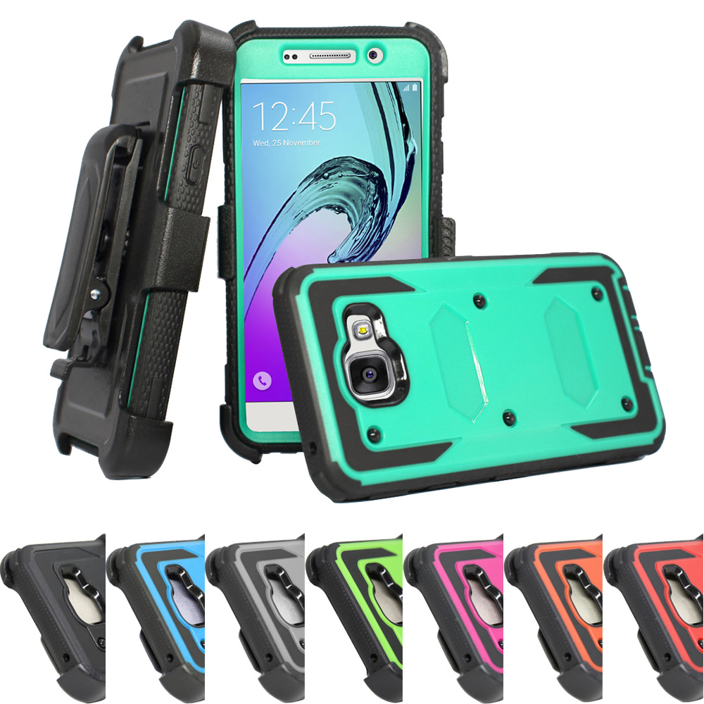 Stötsäker Armor Case Belt Clip Holster Cover För Samsung Galaxy A3 A5 J1 J3 2016 2017 / J7 / S6 S7 Edge S8 Plus / Grand Prime / Note 5