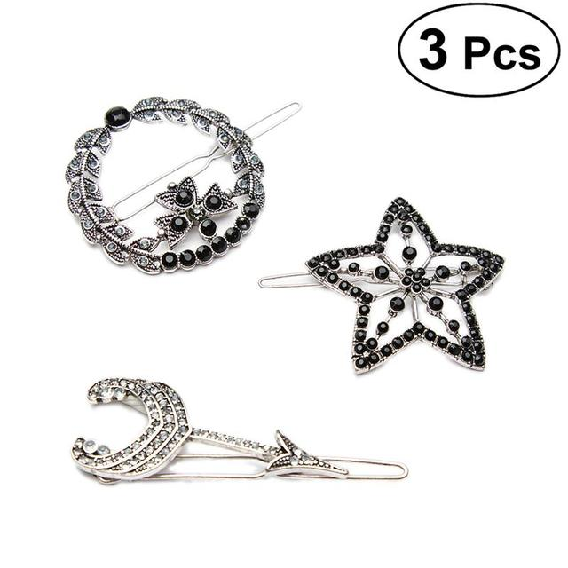3PCS Hairpin Geometry Decorative Alloy Accessiories Hair Clip Hair Clamps Vintage Headdress For Ladies Women Girls