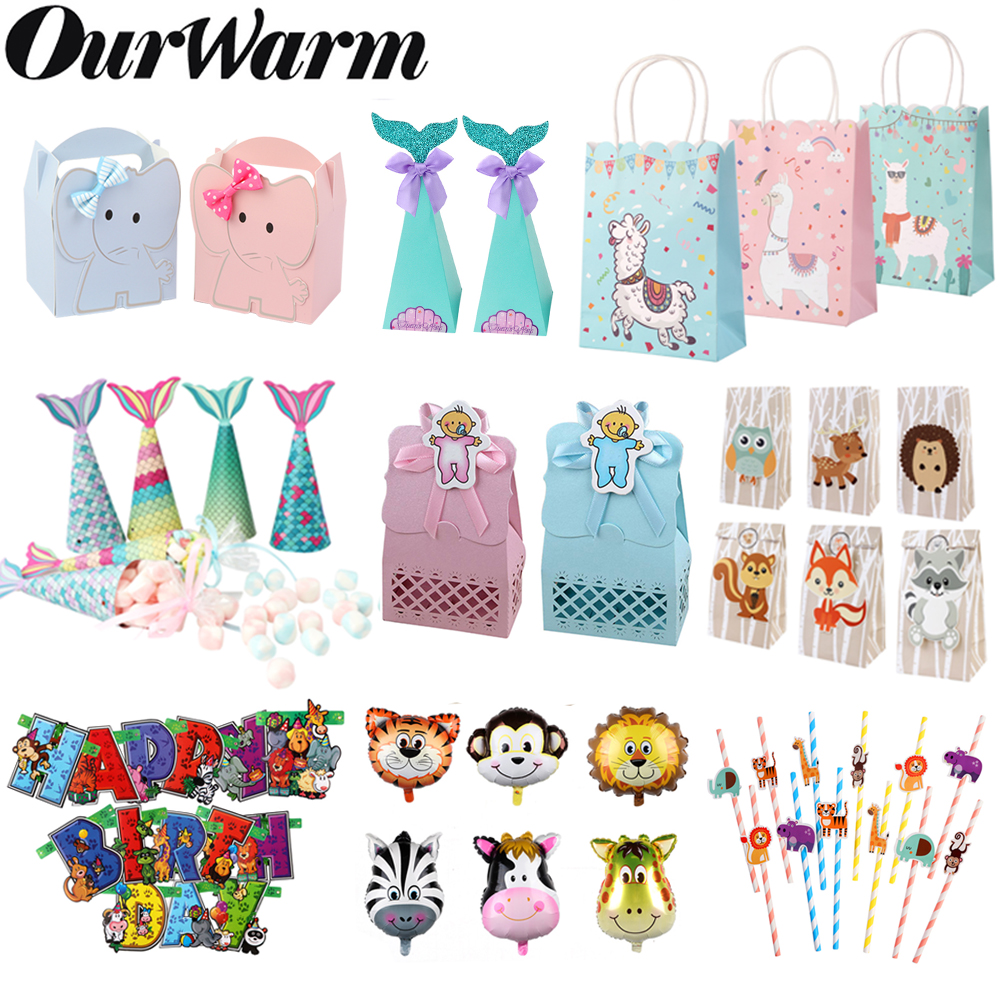 OurWarm Animal Paper Candy Bag Kids Birthday Gifts Elephant Llama Mermaid Candy Box Jungle Party Supplies Baby Shower Favors DIY