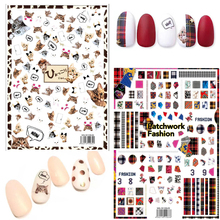 Newest MGM-0106 batchwork fashion 3d nail sticker decals Japan style back glue template DIY decorations