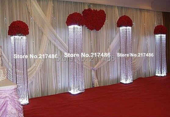 Crystal Pillar For Wedding Walkway Wedding Decoration