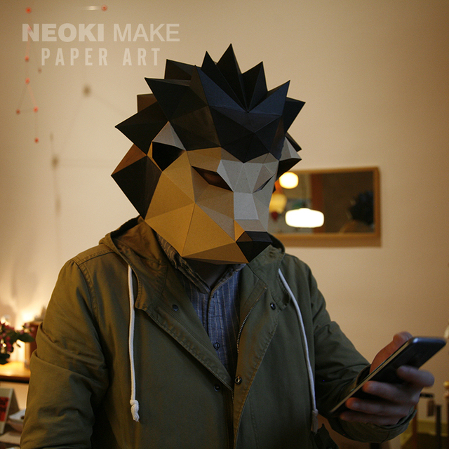 Creative Paper Model Acupuncture Head Cover Three Dimensional Origami Animal Mask Men And Women Full