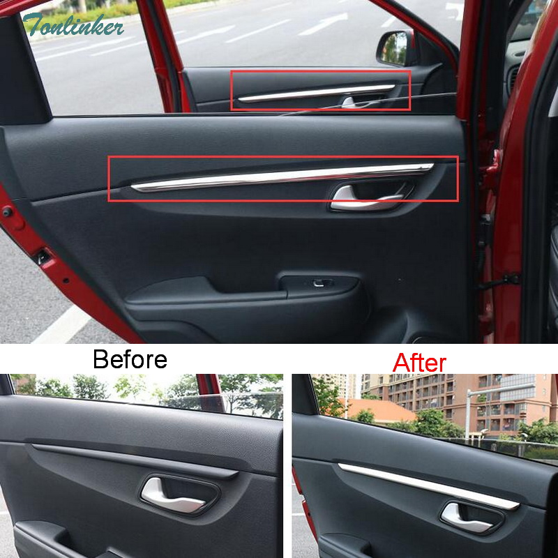 Tonlinker Cover Case Sticker For KIA RIO K2 2017-18 Car Styling 4 pcs stainless steel Above door handle position cover sticker
