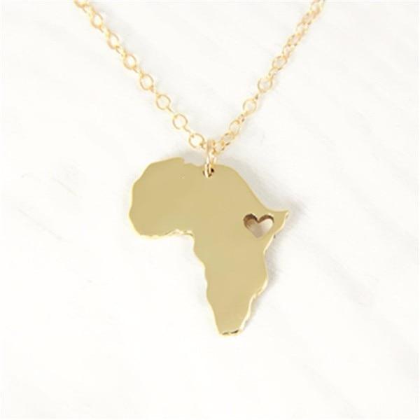 10PCS Contorno Africa Mappa Collana Con Cuore Paese del Sud Africano Mappa Collana Sagome Etiopia Ciondolo Collane