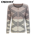 Hot Sale New Style Women Apparel Long Sleeve Round Neck Zipper Decorate Patchwork Fashion Winter Cardigans Knitted Sweater 16009