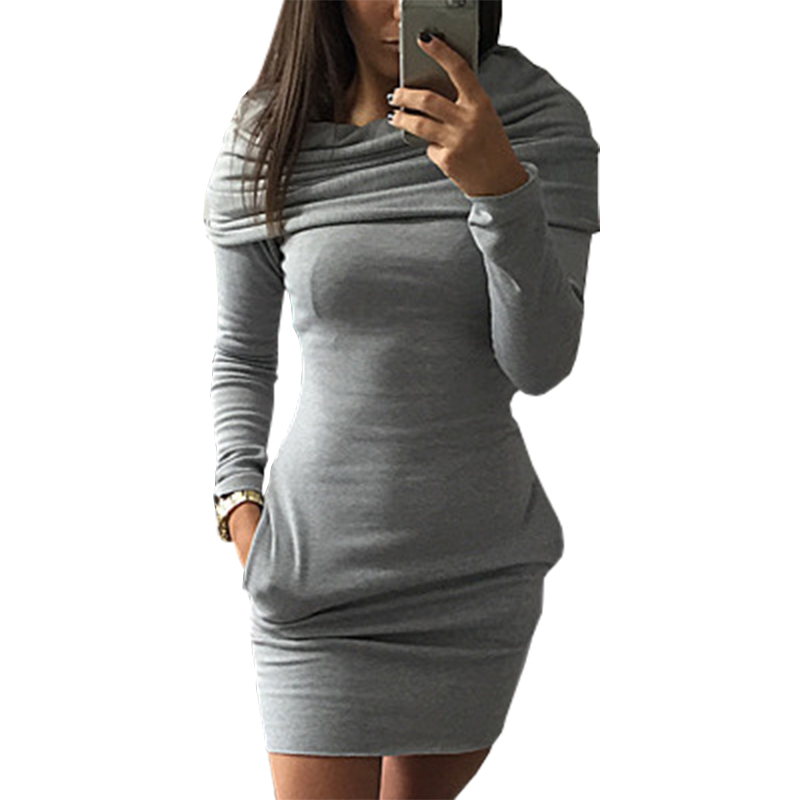autumn winter hot models mini dress hooded sweater vestido package hip long sleeved warm dresses short clothing vestidos LBD9823