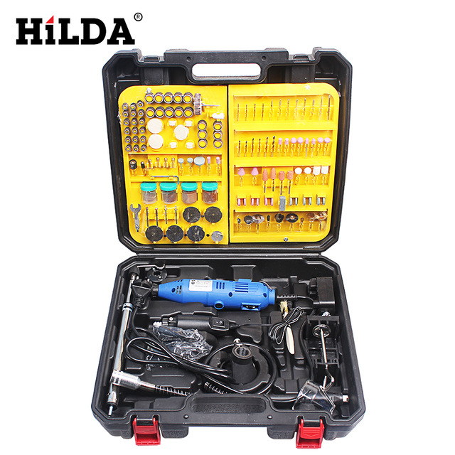 HILDA Mini Electric Tools Grinder For Dremel Style Rotary Tool Double Electric Mill Jade Carving Machine