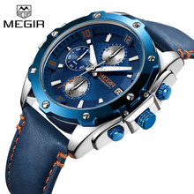 MEGIR メンズ腕時計トップブランドの高級クロノグラフ腕時計日付ミリタリーバンド男性クロックレロジオの Masculino 2074