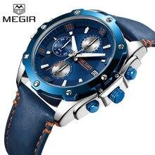 MEGIR Men Watch Top Brand Luxury Blue Chronograph Wristwatch Date Military Sport Leather Band Male Clock Relogio Masculino 2074